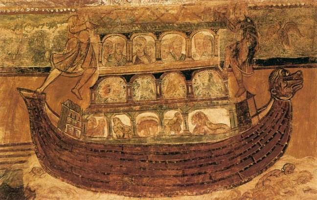 noah2 c. 1100. Fresco Abbey Church, Saint-Savin-sur-Gartempe