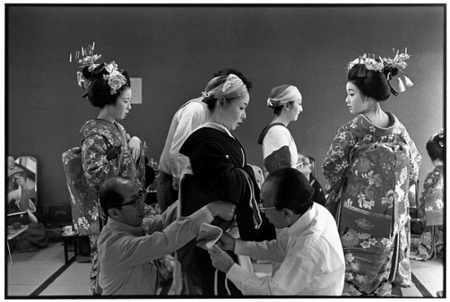 JAPAN. Kyoto. 1978. Gion district. Backstage theatre.
