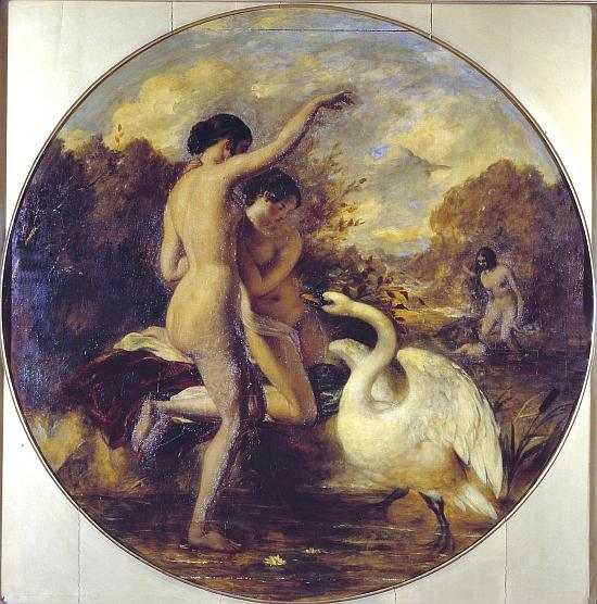 Female Bathers Surprised by a Swan. Verso: Terpsichore (?) with Putti exhibited 1841 by William Etty 1787-1849