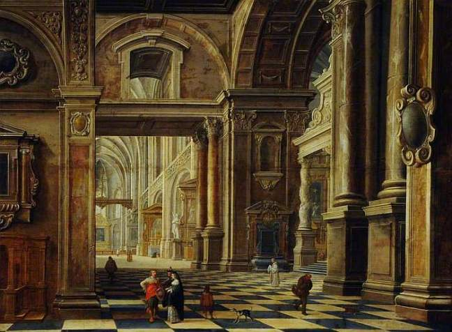 van Bassen, Bartholomeus, c.1590-1652; Interior of a Flemish Cathedral with Figures