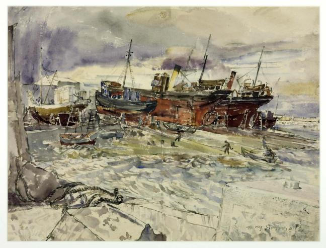 Slipway, Reykjavik Harbour. August 12, 1943 1943 by Thomas Hennell 1903-1945